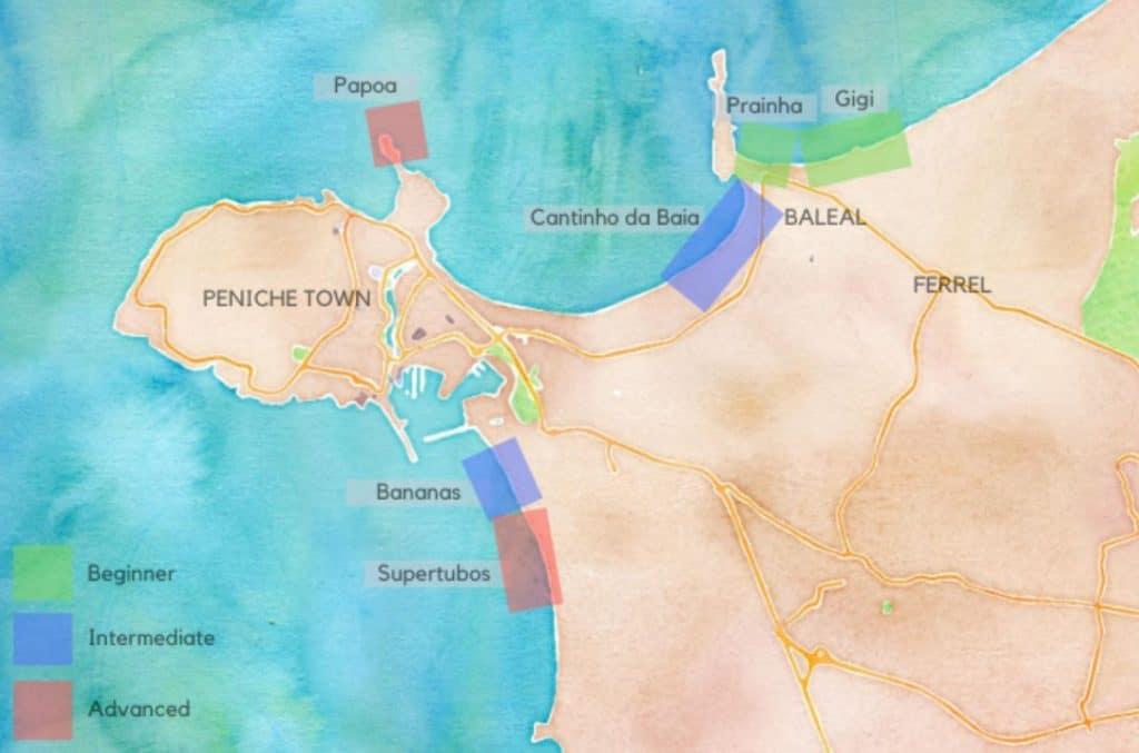 Map of Peniche surf spots