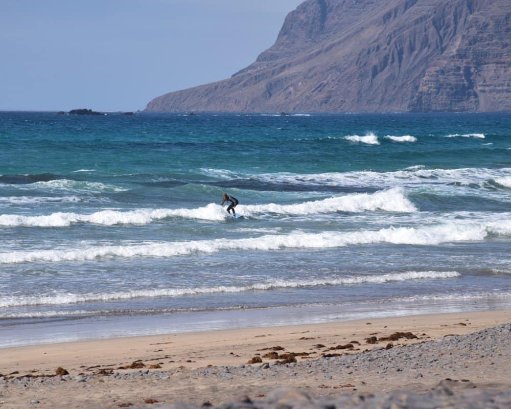 Caleta de Famara beginner surfer