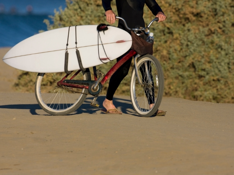 Surfboard bike rack options