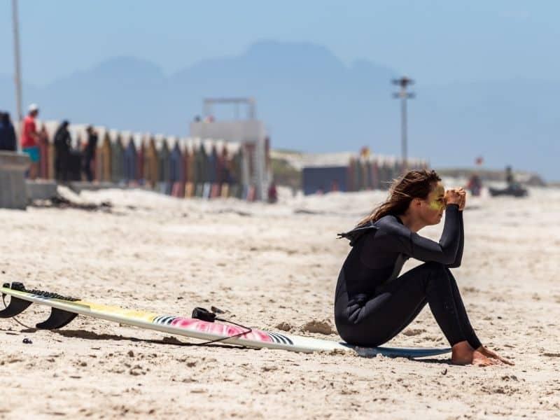 Female wetsuit on beach