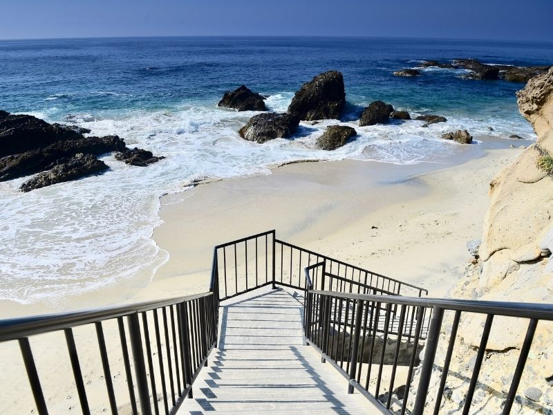 Steps down to a beach in Laguna